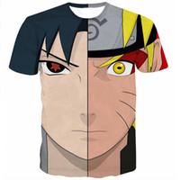 ingrosso camicia nera di kung fu del cotone-Naruto Mens Anime T-Shirt O-Collo manica corta T-shirt a maniche corte T-shirt da uomo
