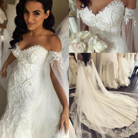 Wholesale crepe back satin wedding dress resale online - 2020 New African Mermaid Wedding Dresses Off Shoulder Lace Appliques Pearls Plus Size Open Back Chapel Train Formal Bridal Gowns Vestido