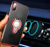 Wholesale plate stand fittings for sale - Group buy For Iphone Pro XR XS MAX X Chromed Car Holder Metal Finger Ring Bracket Soft TPU Case Magnet Suction Stand Metallic Plating Covers