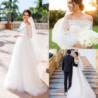 Wholesale simple country wedding dresses for sale - 2019 Bohemain Lace Wedding Dresses Illusion Long Sleeves Off Shoulder Country Garden Castle Bridal Gowns Tulle Gorgeous Vestidoe De Noiva