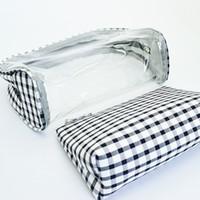 Wholesale clutch bags online - Waterproof PVC Zipper plaid Pouch Transparent Clear Travel bag Cosmetic Wash Storage Bag Make Up handbag LJJW235