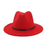 sombreros fedora rojos al por mayor-Unisex plana Brim fieltro de las lanas del sombrero de ala con cinturón rojo Negro remiendo Jazz formal Sombrero Panamá Cap sombrero flexible Chapeau Hombres Mujeres