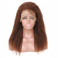 peruca de cabelo kinky brasileiro venda por atacado-Luz Marrom Afro Crespo Encaracolado Perucas de Cabelo Curto Cheia Do Laço Perucas de Cabelo Humano Para As Mulheres Negras Brasileira Virgem Peruca de Cabelo Humano Encaracolado