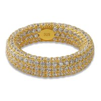 925 sterling silber plattiert set großhandel-Voller Diamant Ring 925 Sterlingsilber Ringe Hip Hop Schmuck Zirkon Gefrorene Ringe Überzogen Für Liebhaber Mode Großhandel Set Diamant