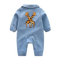 yeni doğmuş bebek kot pantolon toptan satış-Yumuşak Denim Bebek Romper Karikatür Bebek Giysileri Yenidoğan Tulum Bebekler Erkek Kız Kostüm Kovboy Moda Kot Çocuk J190526
