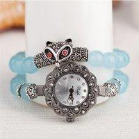 bracelet de diamant grenat achat en gros de-mode loisirs grenat perle renard chapeaux coloré poney de diamant deux tours verre miroir bijoux pendentif bracelet