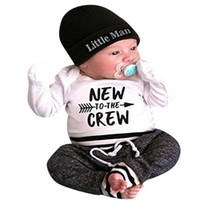 imagens estáticas venda por atacado-3 Pcs Baby boy clothing set Carta Imprimir Romper Tops + Calças Compridas + Chapéu recém-nascidos crianças menino roupas frete grátis