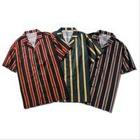 полосатая рубашка с коротким рукавом оптовых-Мужская летняя рубашка пляж с коротким рукавом отложным воротником мужская вертикальная полосатая рубашка 3 цвета Азиатский размер M-2XL