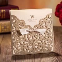invitaciones blancas de lujo al por mayor-Tarjeta de invitaciones de boda de lujo, corte láser con lazo, fiesta, artículos para fiestas, blanco / dorado