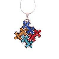 ingrosso catene colorate per gioielli-FL16 Autism Hope Jewelry Multi-Colored puzzle smaltato Piece Pendant with Wheat link Collana a catena Autism Awareness Jewelry