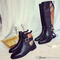 Wholesale boots material for sale - Group buy Classic style stitching cowhide boots fashionable Classic shapes and iconic materials Refined Comfortable Soft Lady Knee length boots
