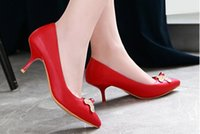 Wholesale shoes wedding middle for sale - 2019 water drill Women s shoes in Spring and Autumn with New style Middle heel fine heel pointed end