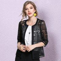collar de encaje cardigan negro al por mayor-Nuevo 2019 Talla grande Cardigan Negro Blanco Crochet Sexy Blusa de Encaje Camisa de Mujer Tops M-5xl Blusa de Verano Ropa de Mujer Blusa 3f Y19062501