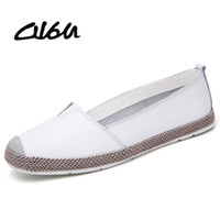 повседневная обувь для балерины оптовых-O16U Genuine Leather Shoes Women Ballet Flats Loafers Summer  Ladies Slip On Casual Flat Shoes Ballerina Flats Zapatos