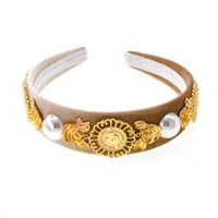 Wholesale red prom hair accessories resale online - New New Fashion Golden Flower Pearl Crown Baroque Retro Prom Hair Band Pearl Hair Jewelry Wedding Tiara Accessories Gift For Women Party