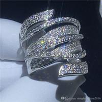 anillo de plata 925 de piedra grande al por mayor-Mujer anillo de lujo Cruz UpPoint 925 anillo de plata anillo de matrimonio 5A Cz piedra grande de compromiso para las mujeres joyería nupcial