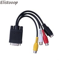 Wholesale rca jack vga cable for sale - Group buy VGA Male to S Video RCA Jack Female Composite AV TV Out Adapter Converter Video Cable for Computer Monitor