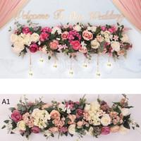 casamento pano de fundo venda por atacado-Pano de fundo Guia Artificial Arch Flor Row Silk Rose Flor Row DIY Estrada Arco do casamento Decoração da flor central do casamento decorativa