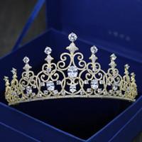 vendas de lojas de jóias venda por atacado-Nova venda quente Europeia de luxo high-end completo zircão noiva casamento coroa de jóias / na loja para escolher mais bonito estilo