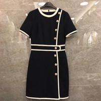 ingrosso maxi veste maniche corte-2019 Designer Women Dress O Neck Maniche corte Tiger Head Buttons Abiti Womens Milan Runway Designer Dress 420001