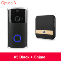ingrosso porta della porta dell'allarme della casa-Wireless Camera di sicurezza domestica intelligente V5 Door 2020 Video Smart IP campanello del citofono WIFI Video Phone campanello per porte del campanello di WIFI IR allarme