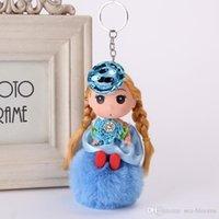 porte-clés pour sacs à main femme achat en gros de-2019 10 Styles belle poupée en peluche Porte-clés Hairball Cute Barbie Pom Pom Trousseau pendentif sac à main femmes fille cadeau Accessoires de mode B767F