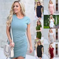 robes longues asymétriques serrées achat en gros de-Irrégulier moulantes uni robe Lady femmes vêtements Slim Hip Robes manches courtes solides Plis asymétriques Forme Tight longues chemises LJJA2501-10