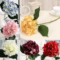 yapay ortancak gövdeleri toptan satış-1 ADET Lüks Yapay İpek Ortanca Çiçek Çiçek Kök ile DIY Aksesuar Ev Partisi Düğün Dekorasyon için mavi stokta