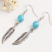 lustres de peixe venda por atacado-Novo azul turquesa Beads Folha Brincos Mulheres Peixe Ear Hook presentes Jóias Dangle Brincos Chandelier Moda