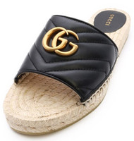 plattform gummisohle großhandel-Chic Branded Frauen Hibiskus Espadrille Leder Sandale Designer Lady Straw Cord Plattform Gummisohle Flache Beiläufige Slipper