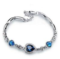coeur océan zircon achat en gros de-Saint Valentin petite amie cadeau en forme de coeur Zircon Cristal Diamant Bracelet Océan Coeur Bracelet Bijoux Petits Cadeaux En Gros