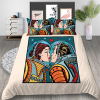 Wholesale romantic bedding for sale - Group buy Astronaut Bedding Set Love Vintage Fashionable Romantic Duvet Cover Couple King Queen Twin Full Single Double Bed Cover with Pillowcase