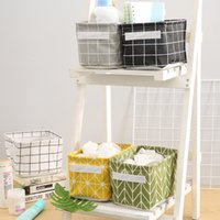 Wholesale organize toys resale online - Office Desktop Foldable Storage Basket Kids Toys Sundries Organize Folding Storage Box Printing Lattice Makeup Sundries Baskets DH1227 T03