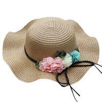 chapéu de palha verão menino venda por atacado-Verão bebê flor chapéu respirável palha chapéu de sol crianças menino meninas chapéus