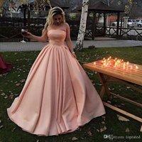 новый сексуальный пол оптовых-2019 New Blush Pink A Line Вечерние платья Сексуальные атласные платья без бретелек длиной до пола Платья для выпускного вечера Abendkleider Платья Вечернее платье Вечернее платье