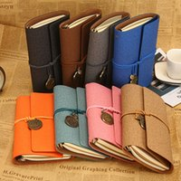 Wholesale leather diary gift for sale - Group buy 16 style travel diary books Loose leaf retro wind strap creative notebook book portable handbook leather notepad cm T2I5424