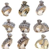 ingrosso avvolge la sposa-Diamond Crytal Ring Cubic Zirconia Anello Corona Wedding Ring Set Wrap Sposa Anelli Banda Moda gioielli Will e Sandy Drop Ship 080396