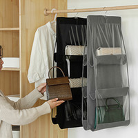 Wholesale hanging closet storage bags resale online - Double Side Hanging Storage Bag Pockets Storage Holder Wardrobe Closets Storage Hanging Bag non woven Home Products