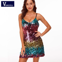 Wholesale sequined dresses for sale - Group buy 2019 Summer Fashion Sexy Women s Clothing Gradient Sequined Spaghetti Strap Dresses Sleeveless V Neck Party Mini A Line Dresses