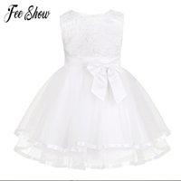 bragas de encaje blanco chicas al por mayor-Nuevo vestido de bebé con bragas de encaje bordado blanco Vestidos de bautizo de niña Vestido de cumpleaños de 1 año Ropa de niñas para 3-24 m