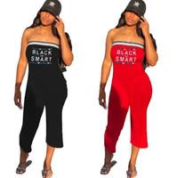 kadınlar için siyah pantolon rompers toptan satış-Mektup Baskılı Straplez Tulumlar Kadınlar Siyah Akıllı Baskılı Çizgili Pantolon Tulum Açık Playsuits sıcak varış LJJO6826