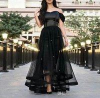 kemikli vücut modern toptan satış-2019 Yeni Siyah Gelinlik Modelleri Kapalı Omuz Cam Kristaller Boncuklu Tül Saten Kemikli Korse Kısa Ön ve Uzun Geri Abiye giyim