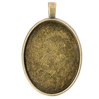 antik gümüş cabochon ayarları toptan satış-10 adet / grup 30 * 40mm Antik Bronz Gümüş Renk Boş Kolye Tepsiler Boş Kolye Cabochon Bankası Ayarları için DIY takı Yapımı