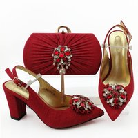 handbag red point 2021 - Gorgeous red women pumps with crystal style african dress shoes match handbag set QSL019,heel 9CM