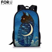 çanta kedi baskısı toptan satış-FROUDESIGNS Karikatür Hayvan Ay Kedi Baskı Okul Çantaları Erkek Kız Çocuklar için Mavi 16 inç Sırt Çantası Gençler Öğrenci Kitap Çantası