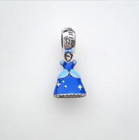 versilberte alphabets perlen großhandel-Für Pandora weiblichen Charme Europa und Amerika Schmuck 925 Sterling Silber Armbänder DIY Emaille Perle Aschenputtel Kleidung Anhänger