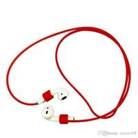 handy zubehör silikon großhandel-Für Apple Airpods Anti-verlorene Strap Schnur Silikon TPU Soft für Air Hülsen Bluetooth Kopfhörer Bonbonfarben Großhandel Handy Zubehör
