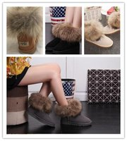 Wholesale ladies brown fur snow boots resale online - Fashion fox fur warm autumn and winter flat with snow women s shoes boots ladies boots casual snow shoes size