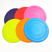 Wholesale soft dog frisbees resale online - Non Toxic Silicone Dog Frisbee For Large Dog Puppy Pet Toy Dog Training Tool Pet Dogs Disk Soft Silicone Flying Disc Colors DBC VT0951