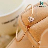 kristall herz armband großhandel-KASANIER Gold Einstellbar CZ Kristall Doppel Herzförmige Metall Manschette Armbänder Bangle Open Cross Charm Armband Für Frauen